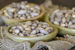 Les cuvettes d'argile avec les pistaches s?ches se ferment  photos libres de droits