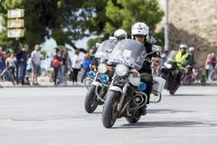 Les cyclistes concurrencent dans les rues centrales de Salonique pendant le t Images libres de droits