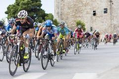 Les cyclistes concurrencent dans les rues centrales de Salonique pendant le t Photo libre de droits