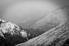 Les cyclistes de montagne montent la station de vacances de panorama dans le Canada de Colombie-Britannique Photographie stock