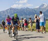 Les cyclistes Jose Joaquin Rojas et Przemyslaw Niemiec Images libres de droits