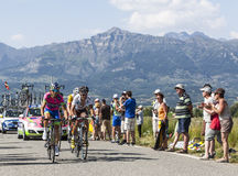 Les cyclistes Manuele Mori et Blel Kadri Images stock