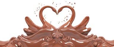 Les cygnes de chocolat d'éclaboussure ont isolé le rendu 3d Images stock