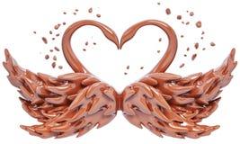 Les cygnes de chocolat d'éclaboussure ont isolé le rendu 3d Photographie stock