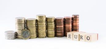 Les cylindres d'euro pièces de monnaie et l'euro de mot ont formé par de petits cubes en bois Image libre de droits