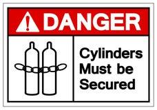 Les cylindres de danger doivent être signe fixé de symbole, l'illustration de vecteur, isolat sur le label blanc de fond EPS10 illustration libre de droits
