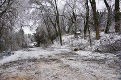 Les débris pendant nettoient de la tempête de pluie verglaçante de 2013 Photographie stock libre de droits