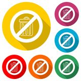 Les déchets de jet du ` t de Don, réutilisent l'icône de signe de poubelle, icône de couleur avec la longue ombre Photo libre de droits