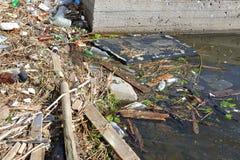 Les déchets de ménage roulent sur la berge et dans l'eau Photo libre de droits
