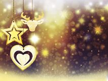 Les décorations d'étoiles de neige de boule de cerfs communs de coeur de jaune d'or de Noël de fond brouillent la nouvelle année  Photos stock