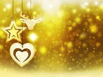 Les décorations d'étoiles de neige de cerfs communs de coeur de jaune d'or de Noël de fond brouillent la nouvelle année d'illustr Photos libres de droits