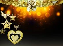 Les décorations d'étoiles de neige de jaune de cerfs communs de coeur d'étoiles de noir bleu d'or de Noël de fond brouillent la n Photo stock