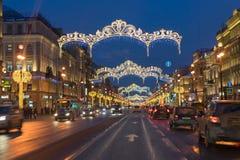 Les décorations de Noël de la ville Images libres de droits