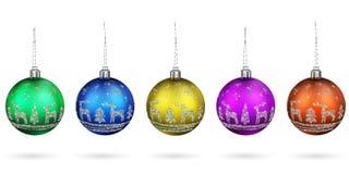 Les décorations merveilleuses sur l'arbre ont isolé illustration stock