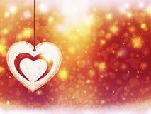 Les décorations rouges d'étoiles de neige de coeur de jaune d'or de Noël de fond brouillent la nouvelle année d'illustration Image libre de droits