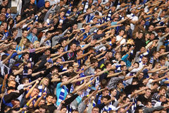 Les défenseurs d'équipe de Kyiv de dynamo de FC affichent leur support Images libres de droits
