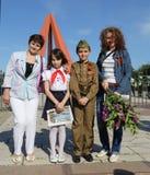 Les défenseurs Pro-russes arrivent au mémorial de Chisinau Image libre de droits
