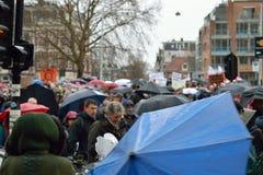 Les démonstrations marchent pour des politiques plus fortes de changement climatique aux Pays-Bas image libre de droits