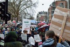 Les démonstrations marchent pour des politiques plus fortes de changement climatique aux Pays-Bas photo libre de droits