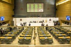 les députés d'état discutent les lois dans l'ensemble législatif de l'état de Sao Paulo photographie stock
