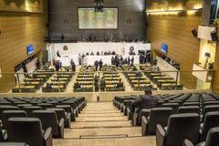 les députés d'état discutent les lois dans l'ensemble législatif de l'état de Sao Paulo image libre de droits