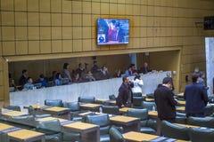 les députés d'état discutent les lois dans l'ensemble législatif de l'état de Sao Paulo image stock