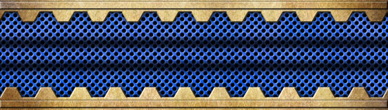 Les détails en bronze avec la maille bleue metal le fond, 3d, illustration Image stock