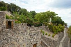 Les détails intérieurs de l'Aragonese se retranchent, île d'ischions Photo libre de droits