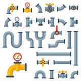 Les détails siffle différents types collection de construction de clapet à gaz d'industrie de tube de l'eau et de pression indust Image libre de droits