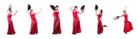 Les danses de danse d'Espagnol de danseur féminin Photo stock