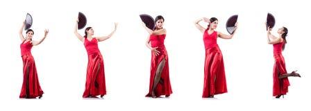 Les danses de danse d'Espagnol de danseur féminin Image stock