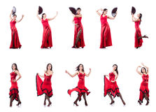 Les danses de danse d'Espagnol de danseur féminin Images stock