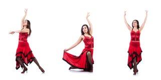 Les danses de danse d'Espagnol de danseur féminin Photographie stock
