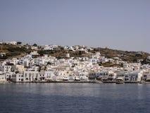 Îles de Grec de moulins à vent de Mykonos Photographie stock libre de droits