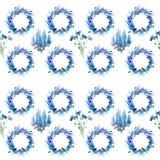 Les delphiniums colorés et les bleuets de beau ressort de fines herbes floral lumineux magnifique merveilleux tressent avec le mo Image libre de droits