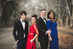 Les demoiselles d'honneur et les garçons d'honneur du mariage couplent la pose en parc Photographie stock