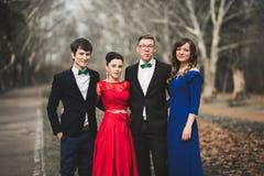 Les demoiselles d'honneur et les garçons d'honneur du mariage couplent la pose en parc Images stock