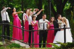 Les demoiselles d'honneur et les garçons d'honneur regardent fixement un couple de baiser de mariage Photographie stock