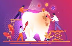 Les dentistes minuscules nettoient, dent malsaine géante de Treate illustration de vecteur