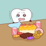 Les dents mignonnes de bande dessinée pleure Images libres de droits