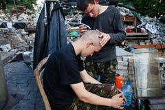 Les derniers protestataires sur Maidan Photographie stock libre de droits