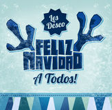 Les deseo Feliz Navidad a todos - I wish Merry Christmas to all spanish text Royalty Free Stock Photography