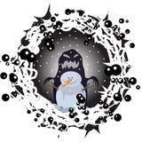 Les dessins de nature d'impression d'animation de bande dessinée de caractère de Halloween d'hiver de nuit de bonhomme de neige p illustration libre de droits