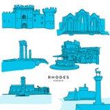 Les dessins de points de repère de Rhodes Greece ont rempli illustration libre de droits