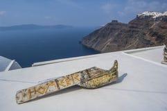 Les dessus de toit de SANTORINI/GREECE des maisons donnent sur Images libres de droits