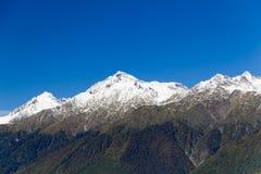 Les dessus des montagnes couvertes de neige Les pentes sont thic Photo stock