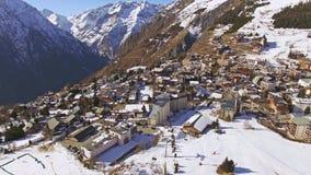 Les Deux Alpes Aerial 4k. Aerial of Les Deux Alpes. This is a 4k video stock video