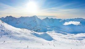 Les2Alpes ski resort slopes aerial view, France Stock Photos