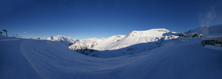 Les Deux Alps mountain panorama. Made on middle station 2100 meters Stock Image