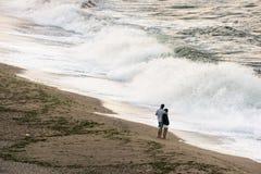 Les deux de nous et des vagues Photographie stock